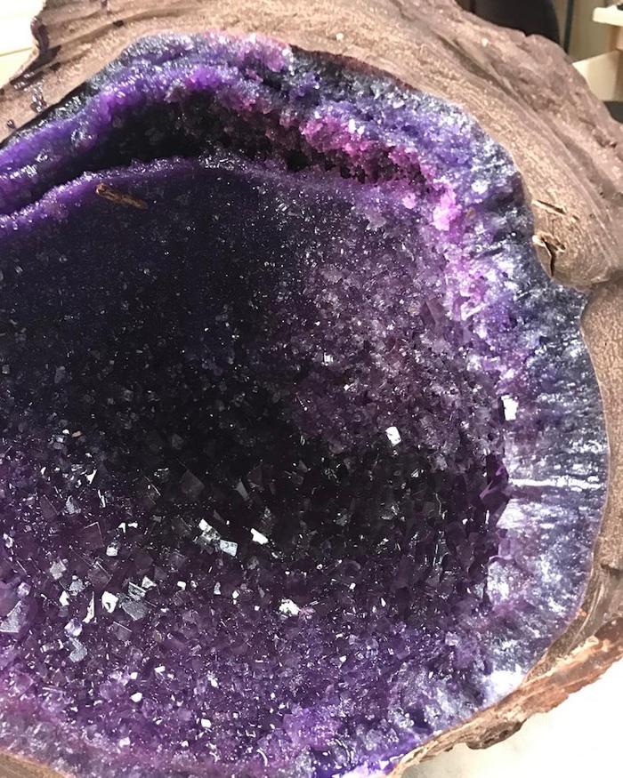 giant chocolate geodes purple sugar crystals