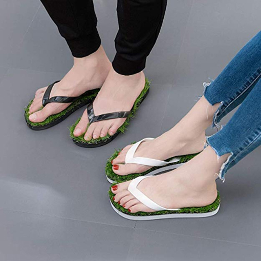grass sandals artificial turf flip flops black white