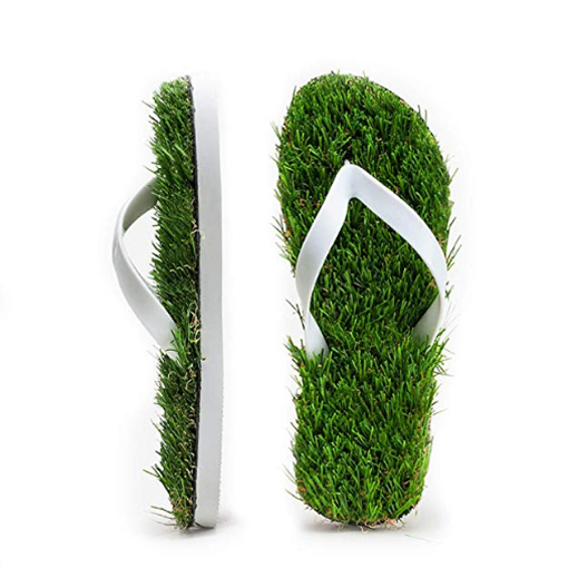 grass sandals artificial turf flip flops white color