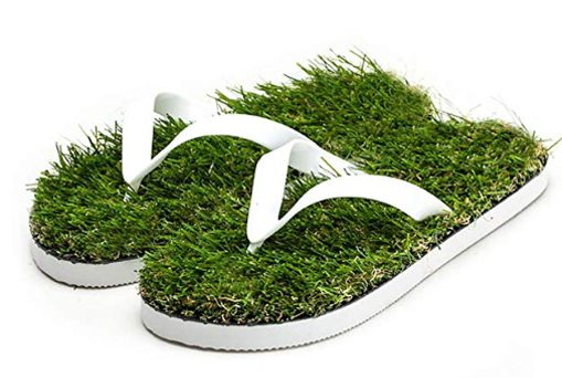 grass sandals artificial turf flip flops white