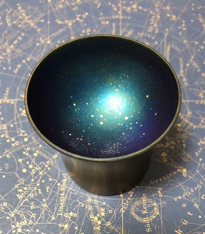 green galaxy sake cups design