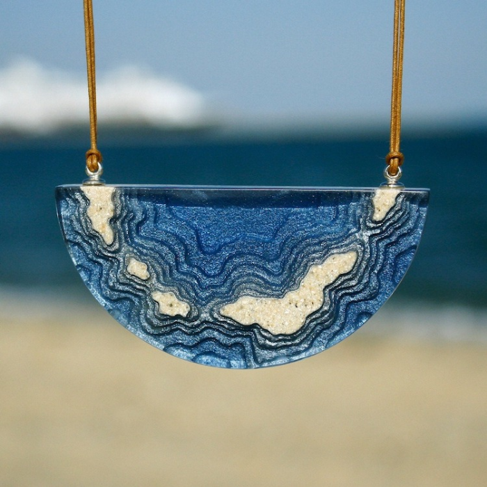 half circle necklace sand and resin jewelry boldb