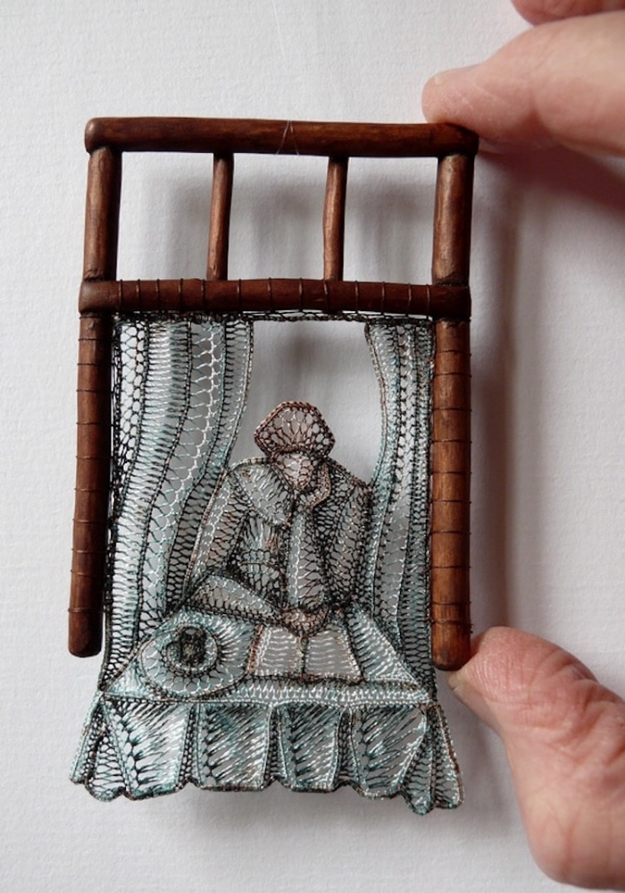 hand cupped by the window lace art agnes herczeg