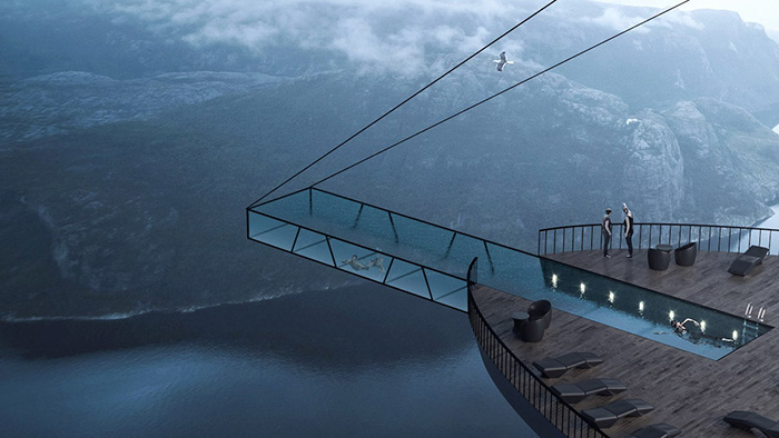 hayri atak cliff concept boutique hotel cantilevered pool