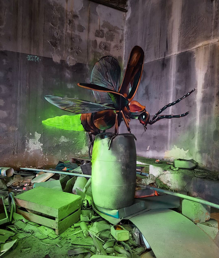insect art graffiti object transformations bus artist odeith