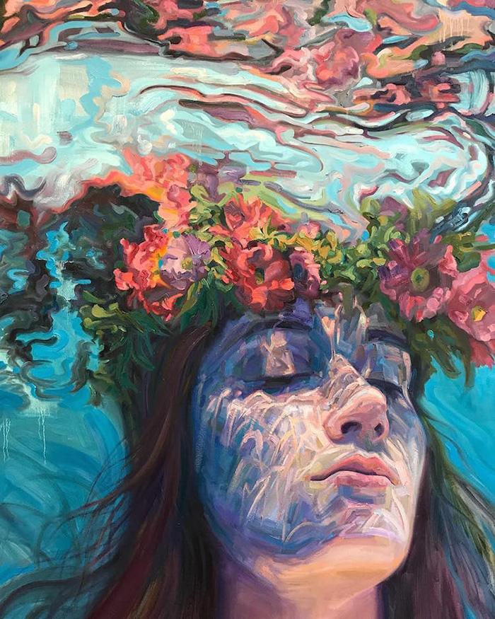 isabel emrich underwater oil paintings flower head