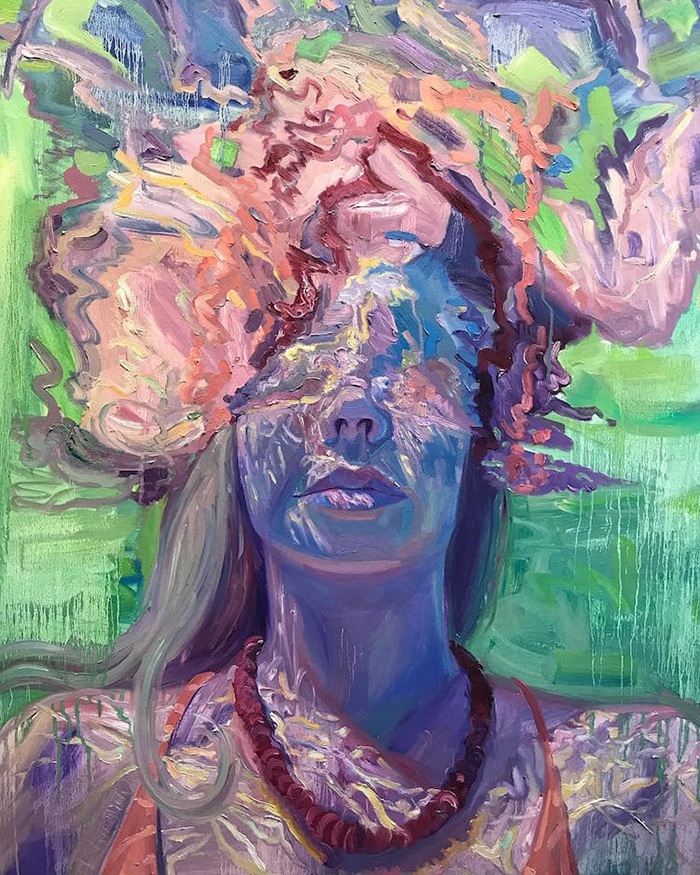 isabel emrich underwater oil paintings half face submerged