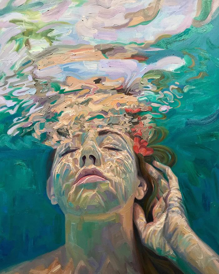isabel emrich underwater oil paintings peaceful water