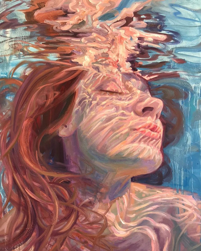 isabel emrich underwater oil paintings woman face