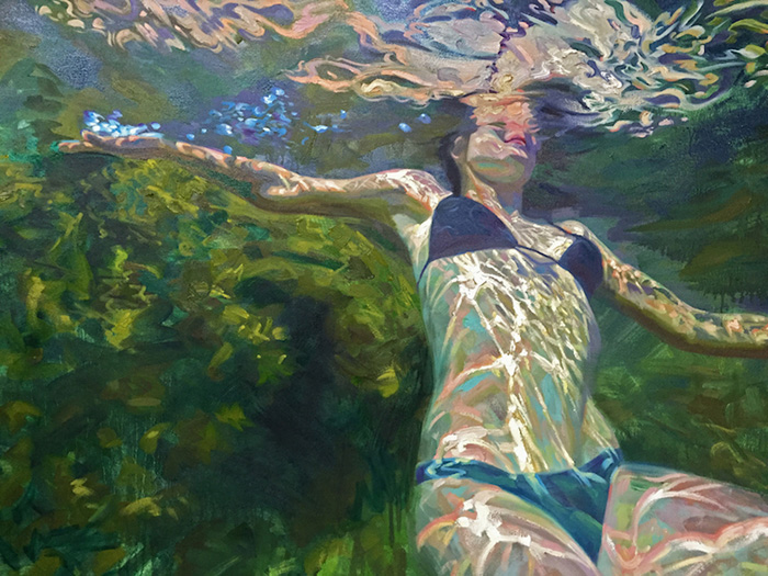 isabel emrich underwater oil paintings woman floating