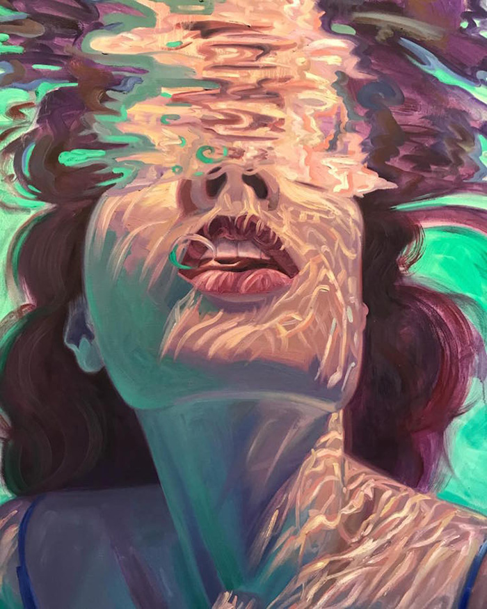 isabel emrich underwater oil paintings woman subject