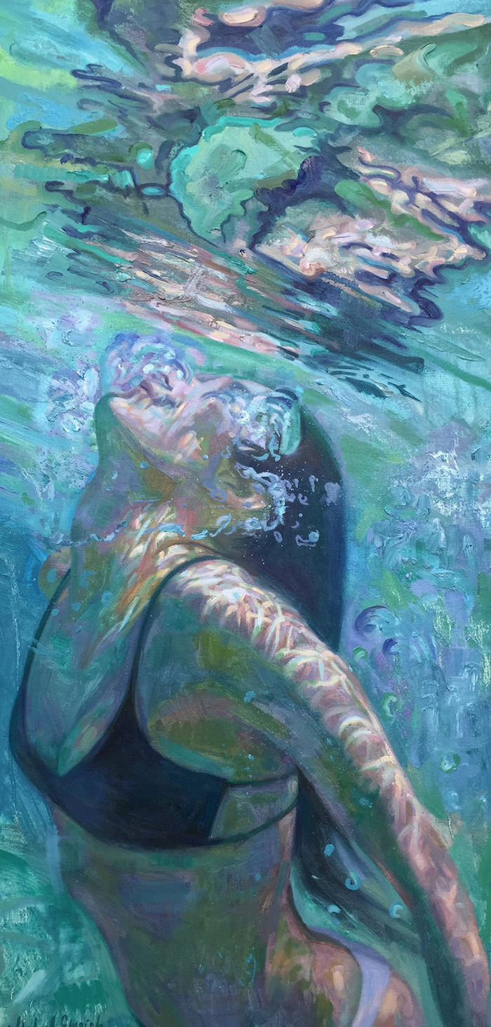 isabel emrich underwater oil paintings woman swimming