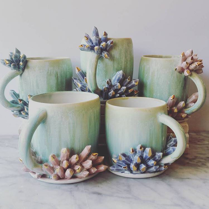katie marks spectacular coffee mugs with crystals
