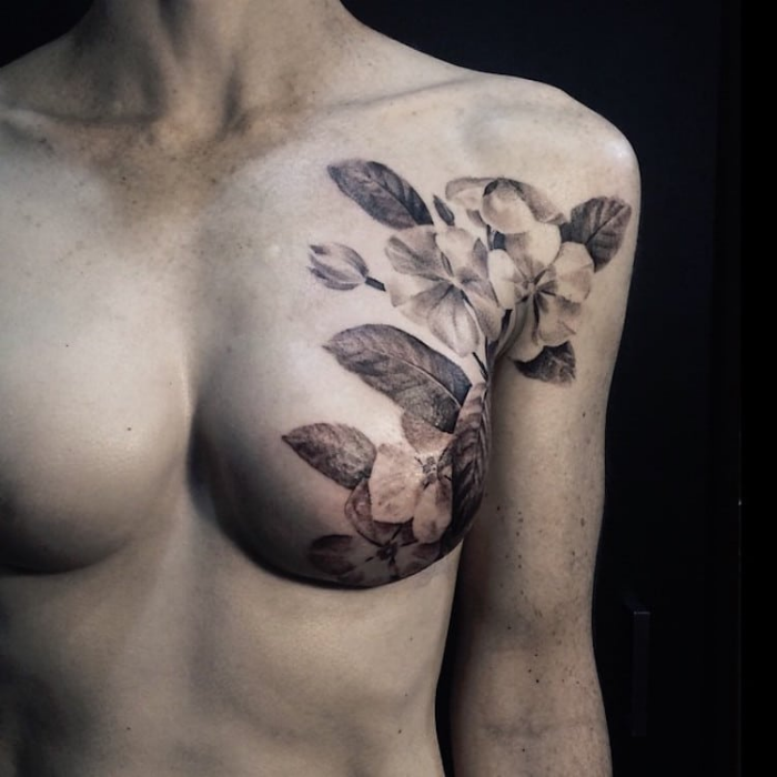 left breast best floral tattoo artists