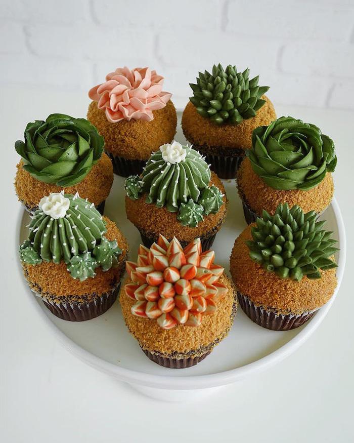 leslie vigil realistic buttercream botanicals cacti cupcakes