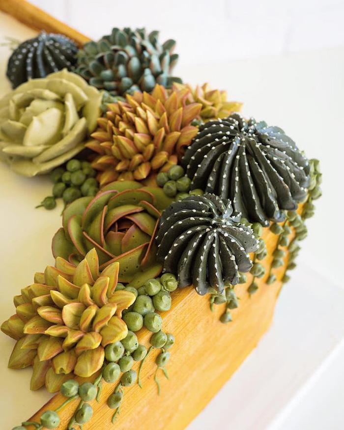 leslie vigil realistic buttercream botanicals cacti detail