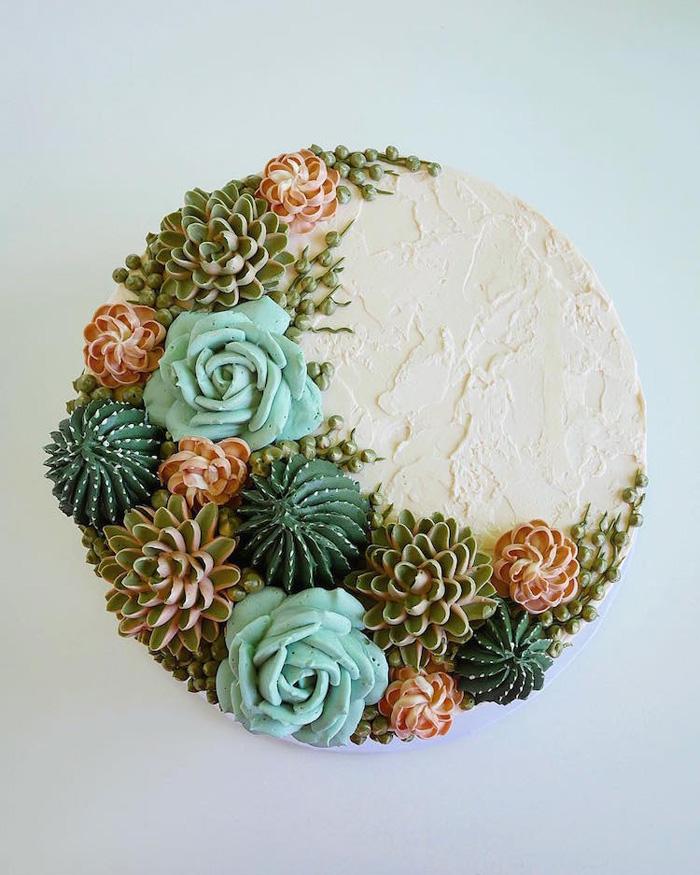 leslie vigil realistic buttercream botanicals cacti white cake