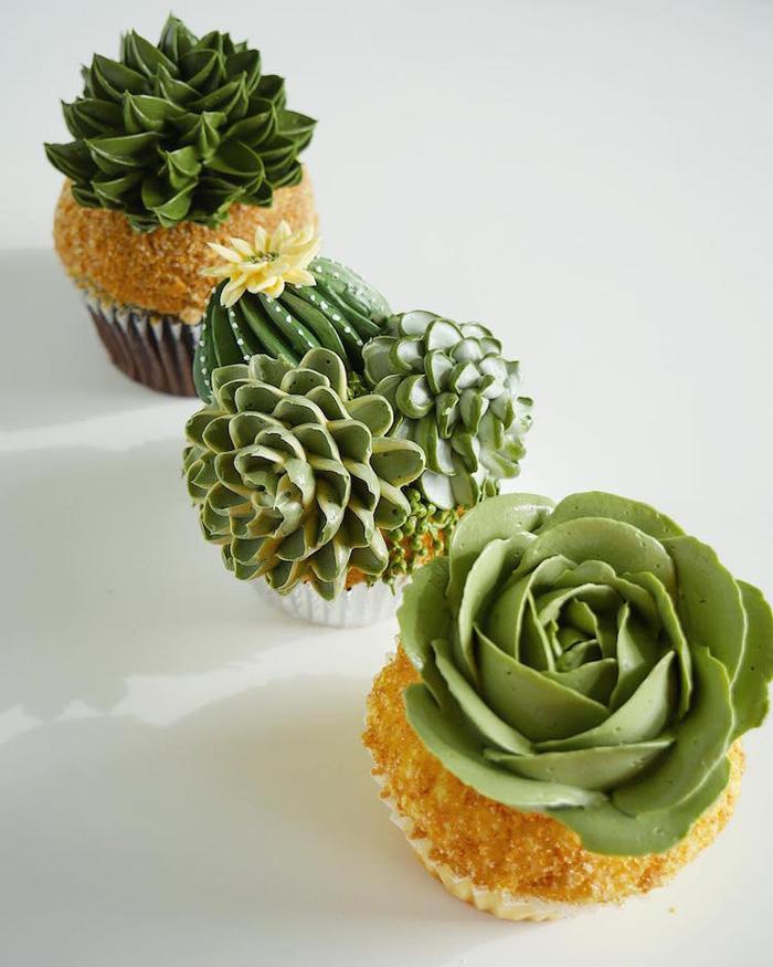leslie vigil realistic buttercream botanicals cactus cupcakes