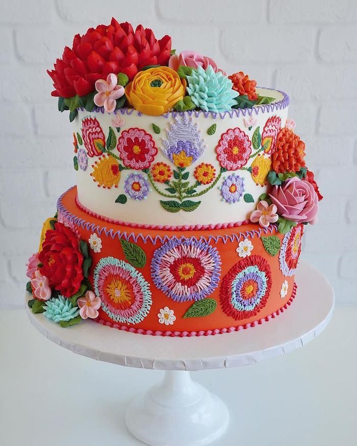 leslie vigil realistic buttercream botanicals colorful flowers