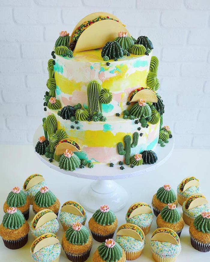leslie vigil realistic buttercream botanicals desert taco design