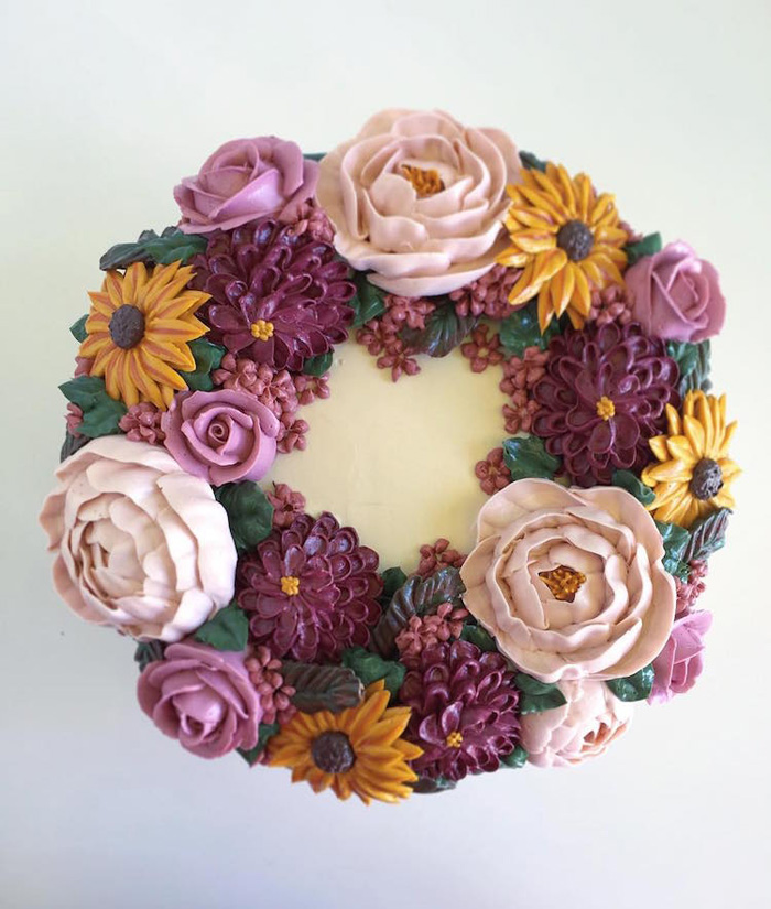 leslie vigil realistic buttercream botanicals flower wreath