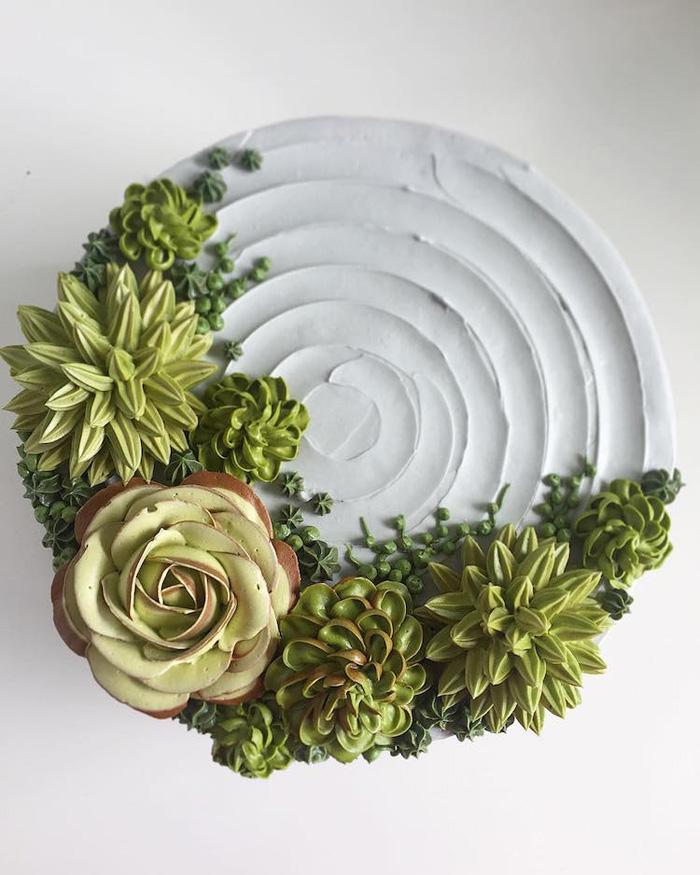 leslie vigil realistic buttercream botanicals green succulents