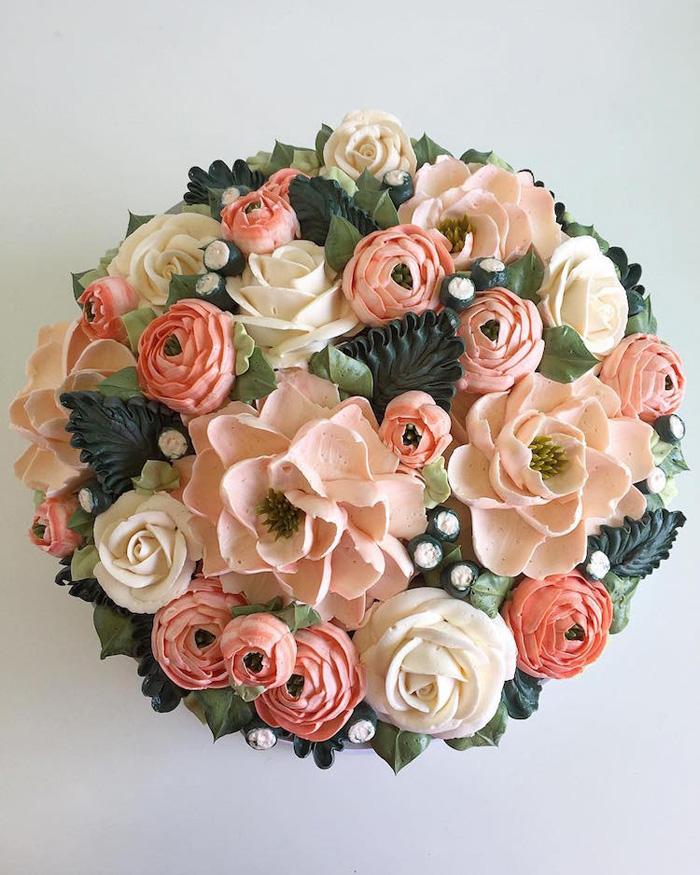 leslie vigil realistic buttercream botanicals pink bouquet