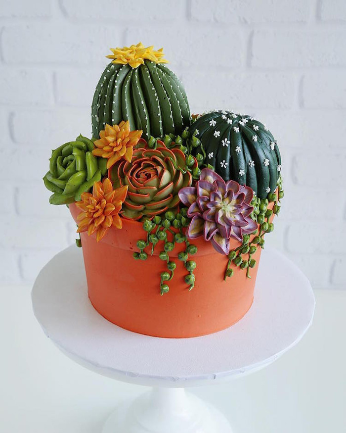 leslie vigil realistic buttercream botanicals potted succulents