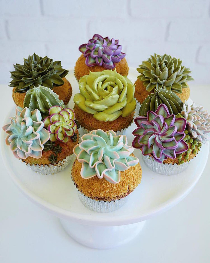 leslie vigil realistic buttercream botanicals succulent cupcakes