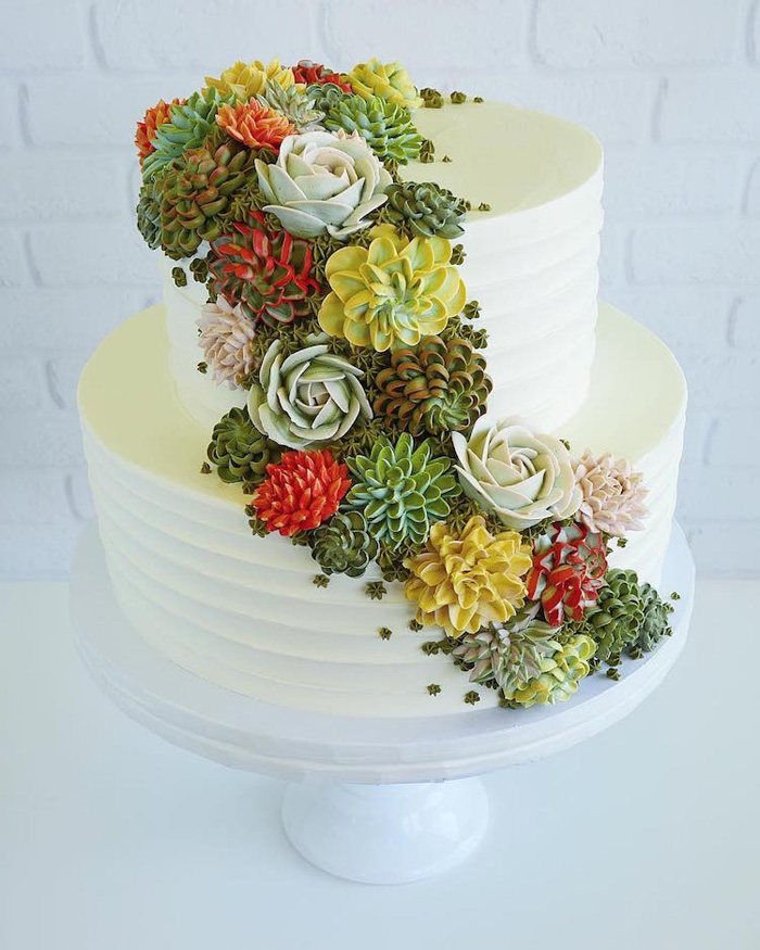 leslie vigil realistic buttercream botanicals two tier