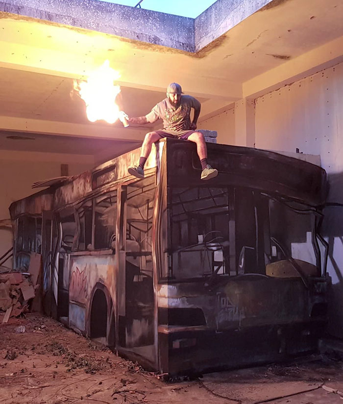 lighting bus painting graffiti object transformations bus artist odeith