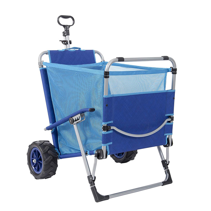 mac sports 2-in-1 beach lounger pull cart wagon