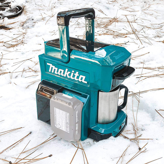 makita job site coffee maker slide-type battery