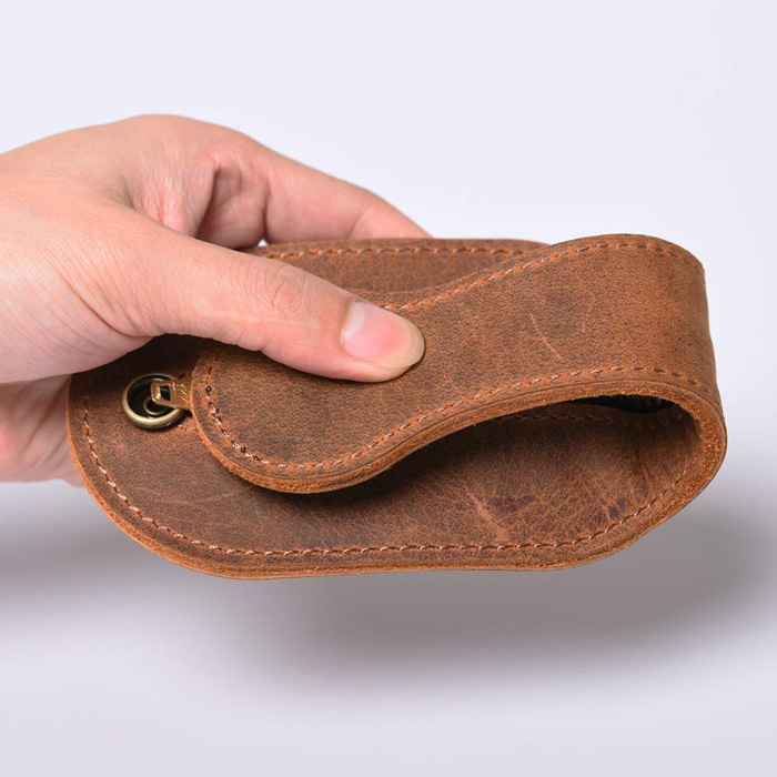 mini leather coin purse self-defense weapon foldable