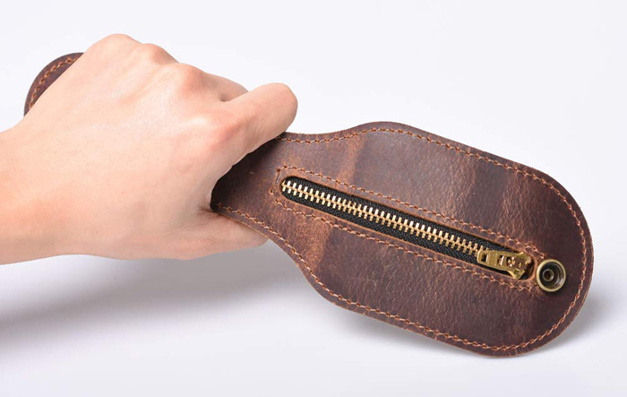 mini leather coin purse self-defense weapon handle