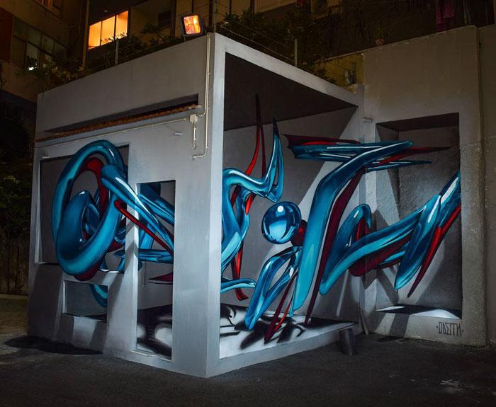 modern art in blue graffiti object transformations bus artist odeith