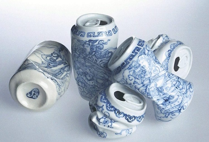 modern style canned drink crushed porcelain lei xue drinking tea