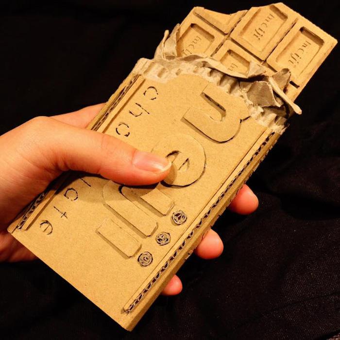 monami ohno cardboard sculptures chocolate bar
