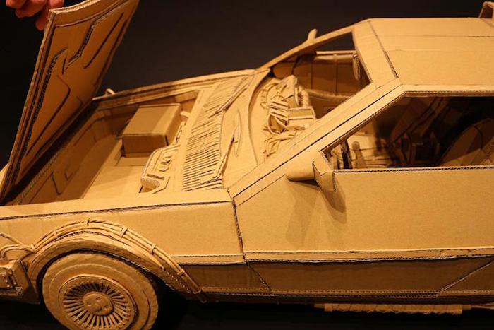 monami ohno cardboard sculptures delorean car detail