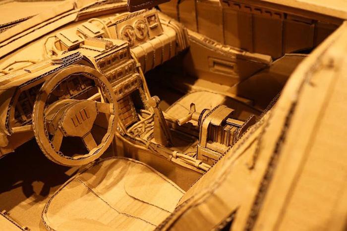 monami ohno cardboard sculptures delorean car interior
