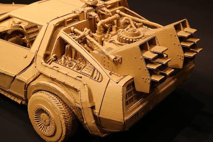 monami ohno cardboard sculptures delorean car rear detail