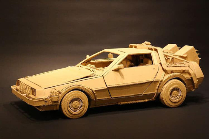 monami ohno cardboard sculptures delorean car