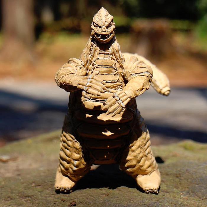 monami ohno cardboard sculptures godzilla
