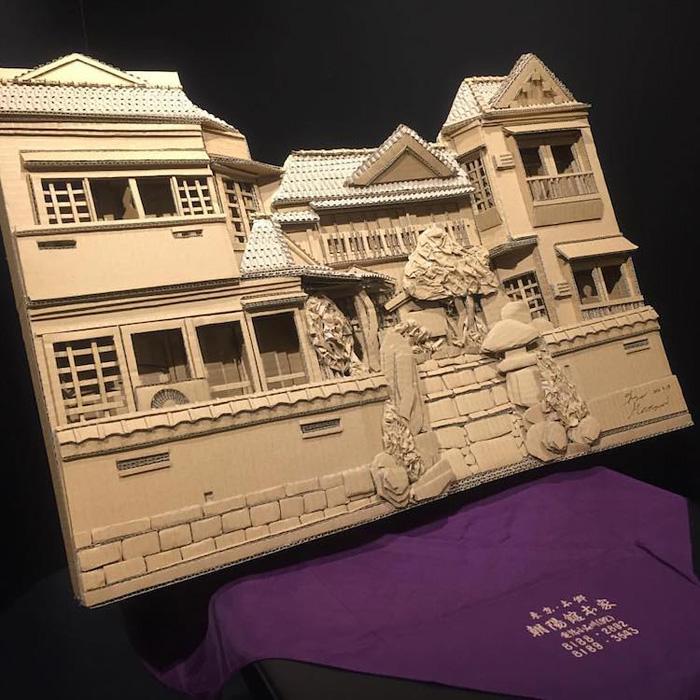 monami ohno cardboard sculptures mansion