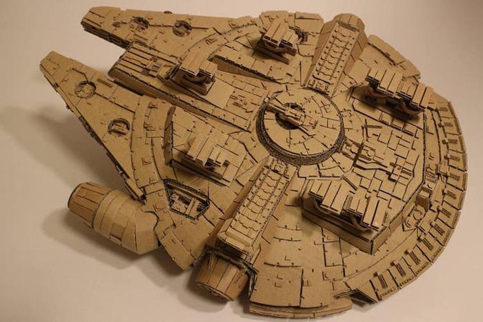 monami ohno cardboard sculptures millenium falcon detail
