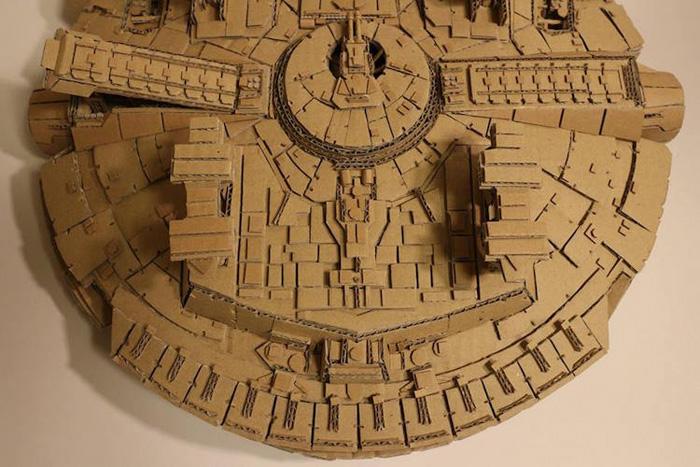 monami ohno cardboard sculptures millenium falcon details
