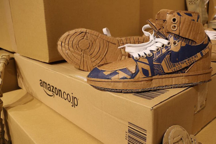 monami ohno cardboard sculptures nike shoes