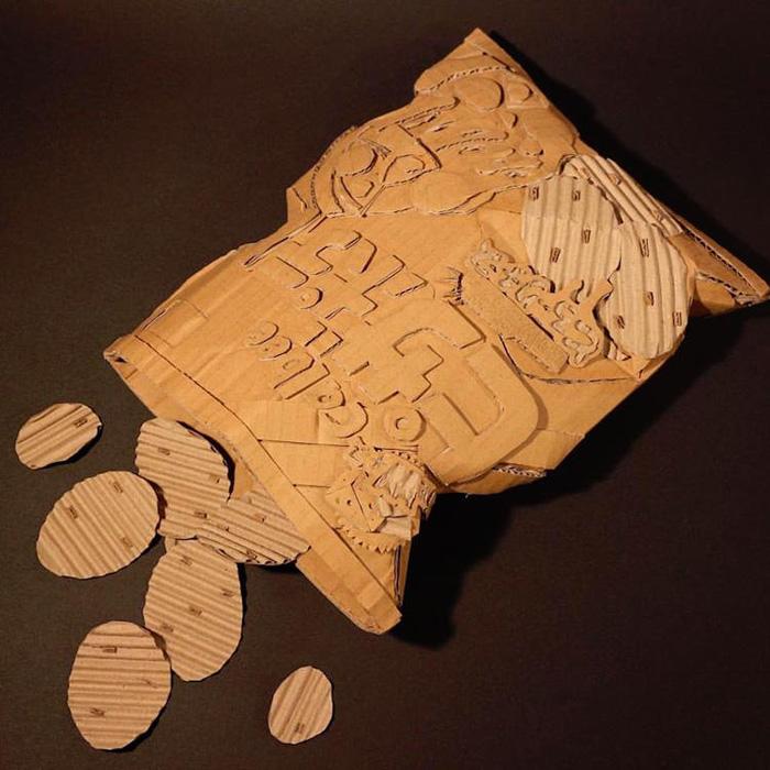 monami ohno cardboard sculptures potato chips