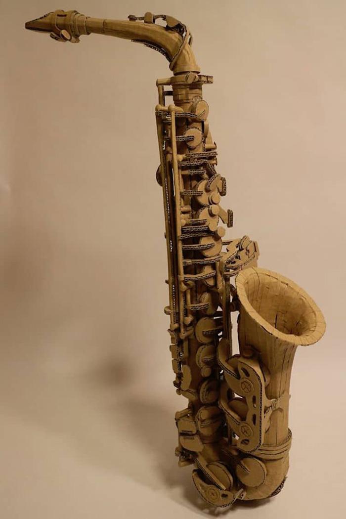 monami ohno cardboard sculptures saxophone