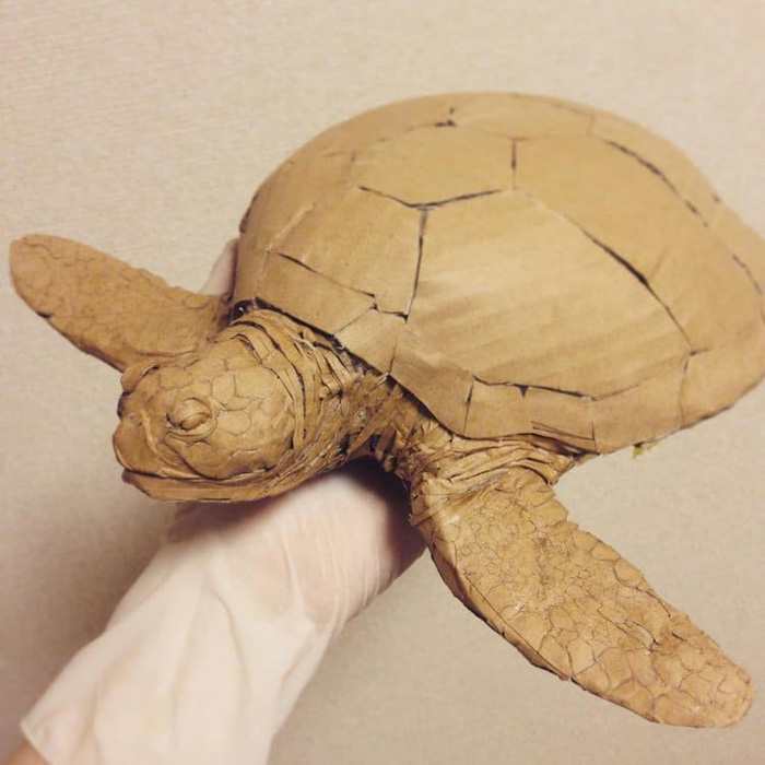 monami ohno cardboard sculptures sea turtle